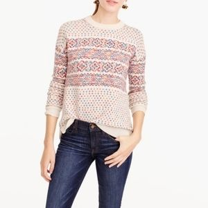J. CREW colorful fair isle wool crewneck sweater